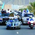 200 سيارة مزينة بأعلام السماوي تجوب شوارع الفجيرة